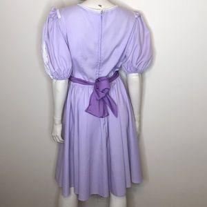 Vintage Dresses - Jeri Bee lavender purple lace ruffle prairie dress